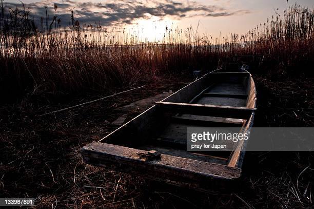 old boat in field - 埼玉県 ストックフォトと画像