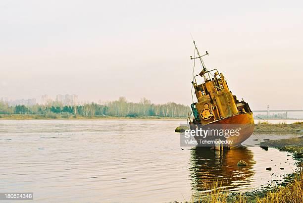 Old boat on Angara river