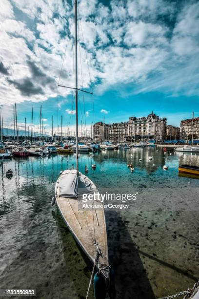 old boat on lake geneva, switzerland - vaud canton stock pictures, royalty-free photos & images