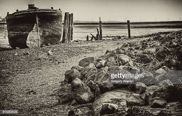 old boat tracks on beach - gillingham stock pictures, royalty-free photos & images