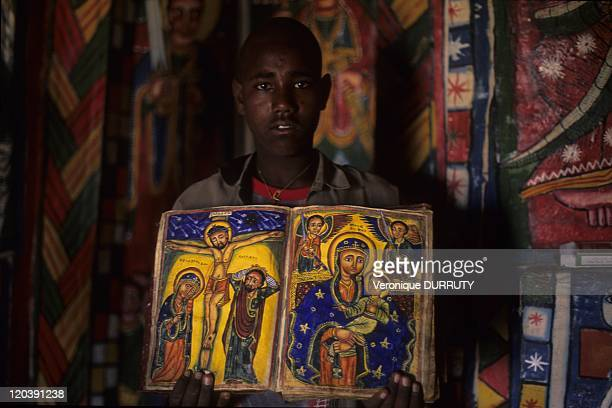 Old book of Michael Milhaizengi monastery in Tigray Ethiopia Michael Milhaizengi Monastery also writen Mikael Milhaizengi Monastery