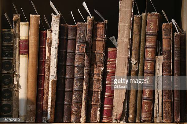 Old books and manuscripts in Christie's auction house which are featured in the forthcoming sale of 'The Collection of Professor Sir Albert...