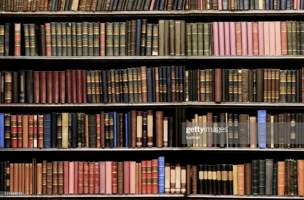Old books in a library : Stock Photo