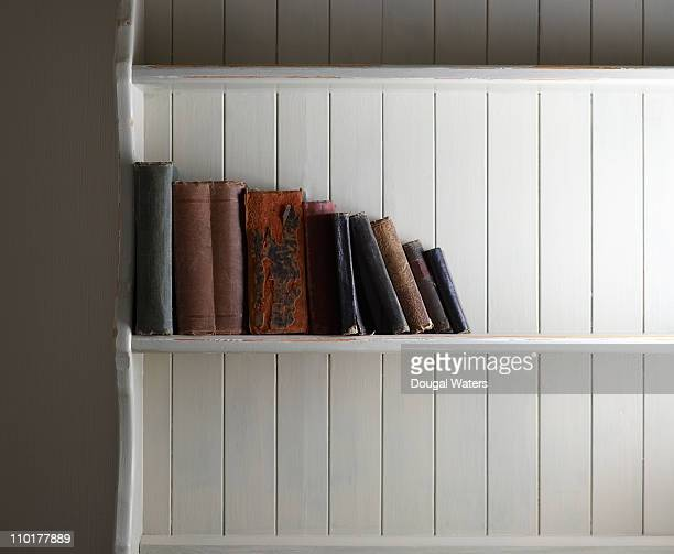 old books on shelf. - book shelf stock photos and pictures