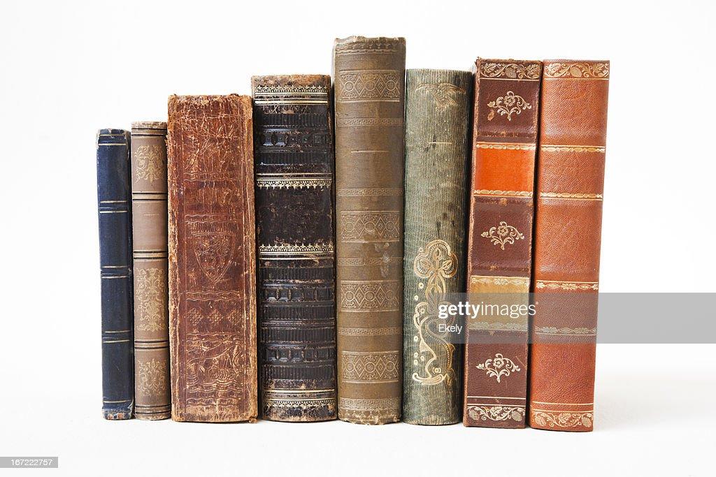 Old books on white background. : Stock Photo