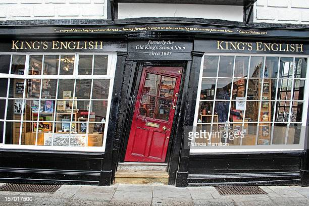 Old bookshop in Canterbury The 17th century building has gradually become crooked with the years and the door has to be planed to fit