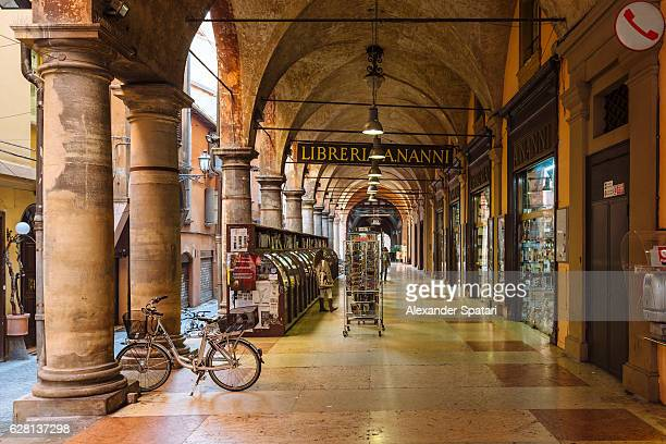 Old bookstore in the passageway in Bologna, Emilia-Romagna, Italy