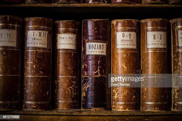 Old boxes of musical scores sit on shelves at Musical Emporium during its last day open to the public on January 5 2015 in Barcelona Spain Musical...