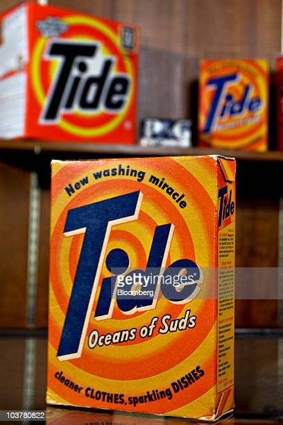 Old boxes of Tide detergent are arranged for a photo in the Procter Gamble Co Archives at the PG's headquarters in Cincinnati Ohio US on Monday Aug...