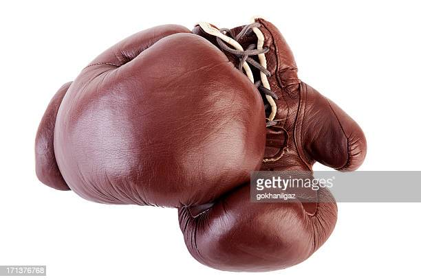 old boxing gloves - boxing gloves stock photos and pictures