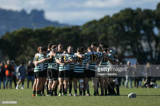 Old BoysUniversity form a team huddle during Jubilee Cup final between Old BoysUniversity and Hutt Old Boys Marist at Petone Recreation Ground on...