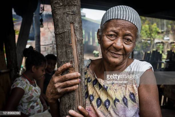 mulher velha brasileira em casa, rio de janeiro, brasil - com fome - fotografias e filmes do acervo