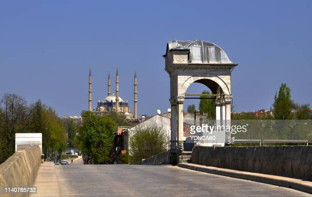 old bridge and selimiye mosque of edirne - edirne stock pictures, royalty-free photos & images