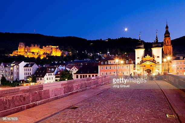 old bridge at dusk - heidelberg germany stock pictures, royalty-free photos & images