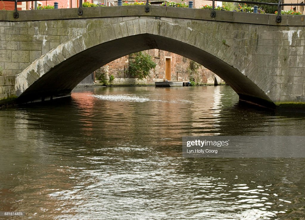 Old bridge over canal in Ghent Belgium : Stock Photo