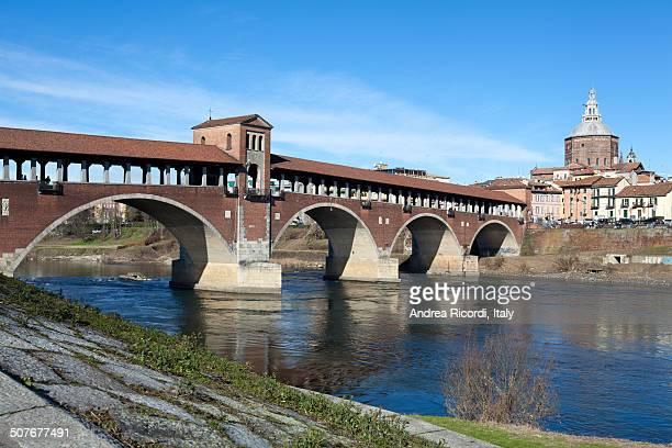 Old bridge over Ticino river in Pavia