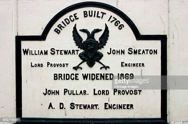 Old Bridge sign Perth Scotland Completed in 1771 this bridge over the River Tay was built by John Smeaton the engineer who built the Eddystone...