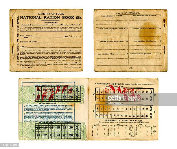 old british food ration book from 1918 - rationing stock photos and pictures