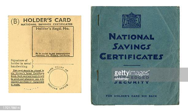 Old British National Savings Certificate book and holder's card