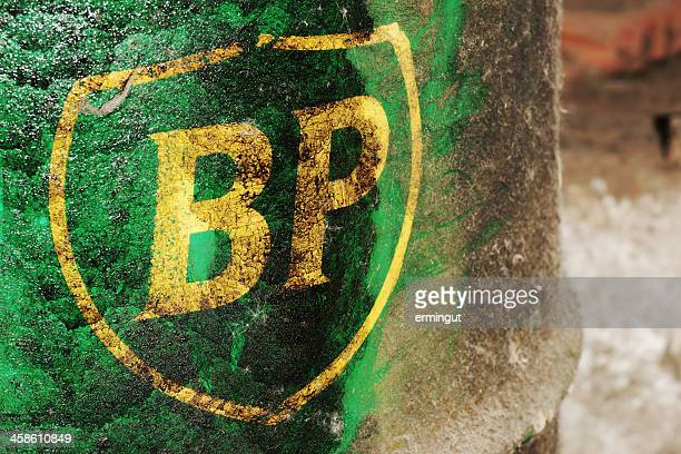 old british petroleum logo on a barrel - bp oil spill stock photos and pictures