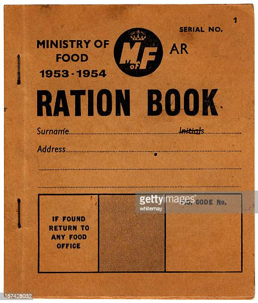 old british ration book - front cover - rationing stock photos and pictures