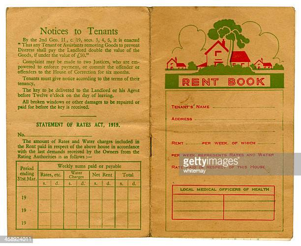 old british rent book cover - deal england stock photos and pictures