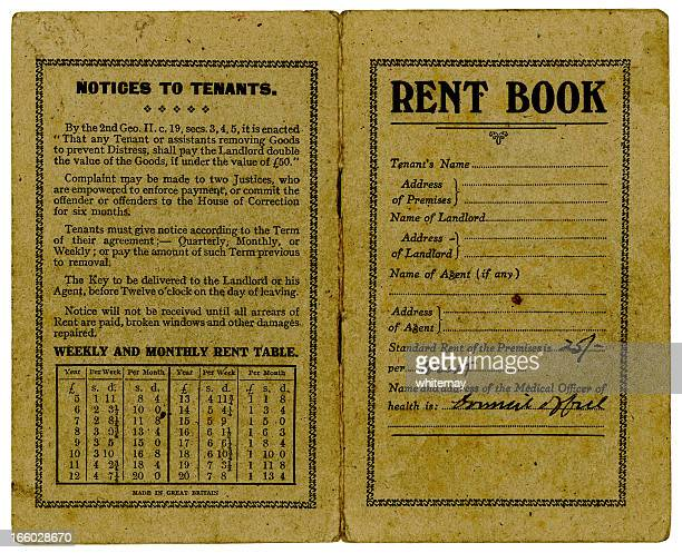 old british rent book covers 1947 - deal england stock photos and pictures