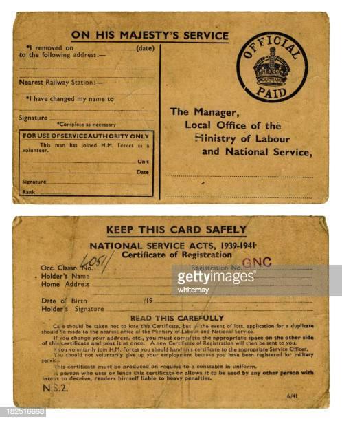 old britischen ww2-service-registrierungskarte - 1939 stock-fotos und bilder