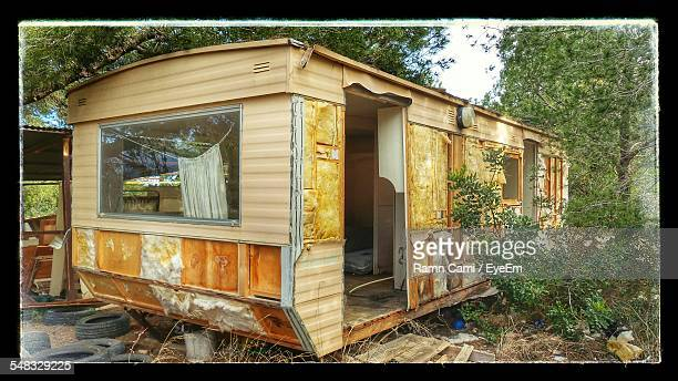Old Broken Down Motor Home In Forest