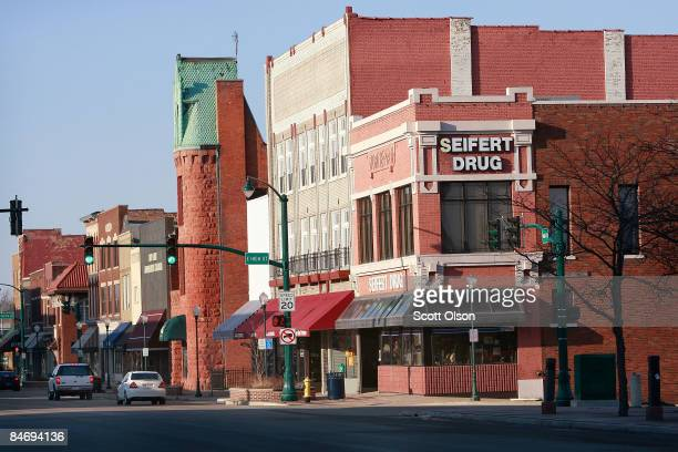 Old buiildings line Main Street February 8 2009 in Elkhart Indiana The ElkhartGoshen area of Indiana had the highest jobless rate increase in the...