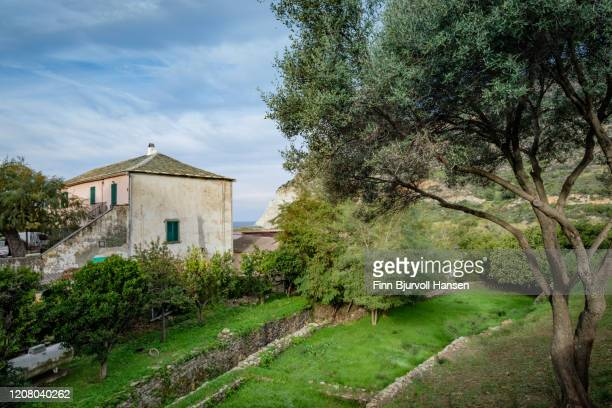 old building and garden in ogliastro - holiday villa stock pictures, royalty-free photos & images