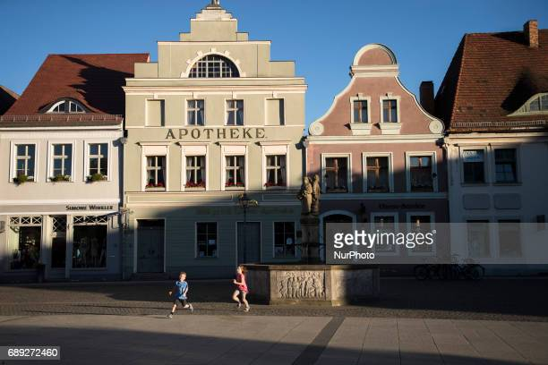 Old building are pictured in the old market square in Cottbus in the German area of the Spreewald in the region of Brandenburg Germany on May 27 2017