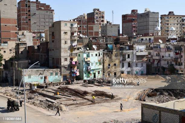 Old building in east Alexandria for the poorest social classes on November 21 2019 in Alexandria Egypt