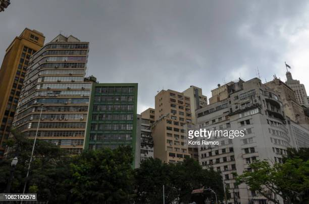 old building in old architecture with trees around in sao paulo in brazil in september 2018. - sandstone wall stock pictures, royalty-free photos & images