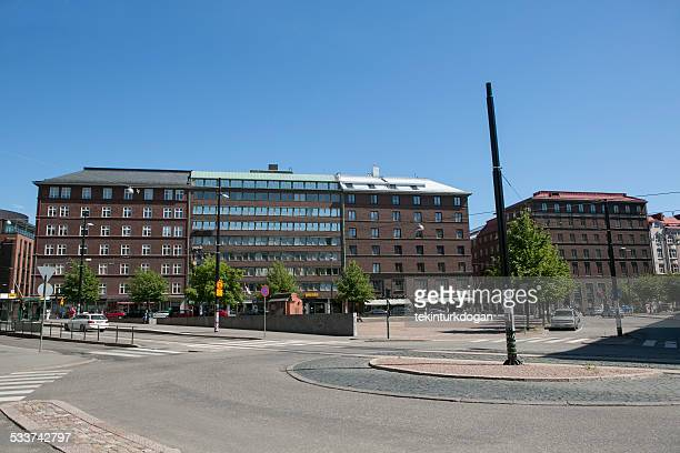 Old buildings are located at empty streets of helsinki finland