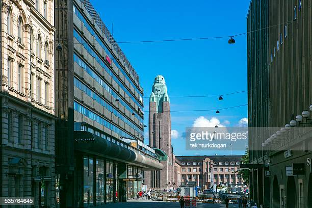 Old buildings are located at streets of helsinki finland