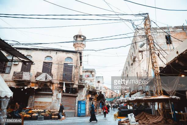 old buildings around souq of sidon, lebanon - beirut stock pictures, royalty-free photos & images