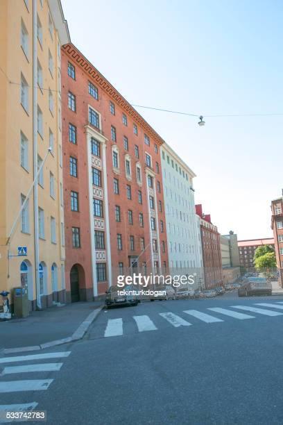 old buildings at street of helsinki finland