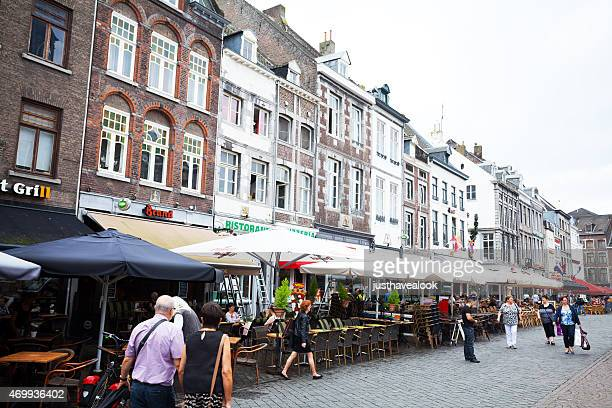 Old buildings, bars and restaurants at square Markt Maastricht