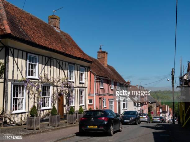 old buildings in prentice street, lavenham, suffolk - lavenham stock photos and pictures