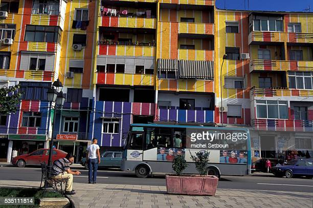 Old buildings in the capital Tirana have been brightened up with a coat of paint an initiative by the mayor of Tirana Eddie Rama