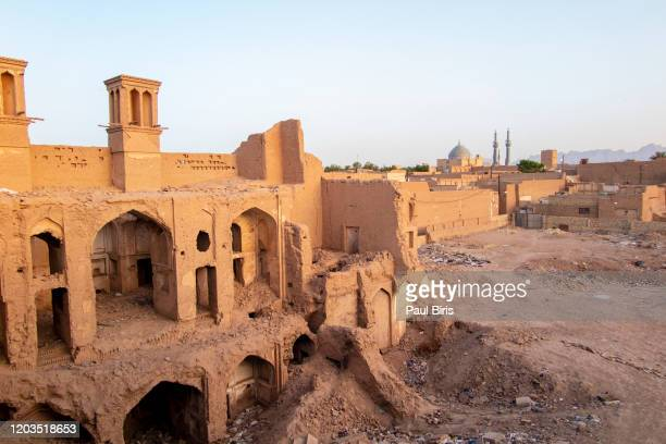 old buildings in the historical part of the yazd city, iran. - iran stock pictures, royalty-free photos & images