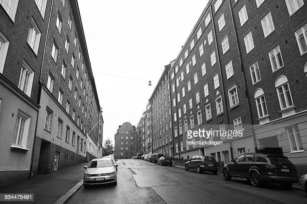 Old buildings located at empty streets of helsinki finland