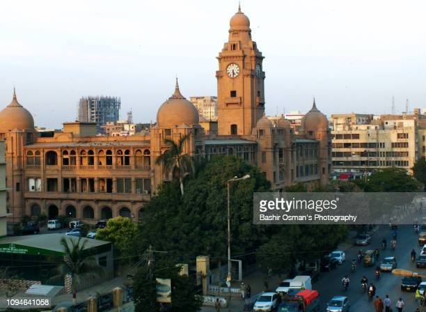 old buildings of karachi - clock tower stock pictures, royalty-free photos & images