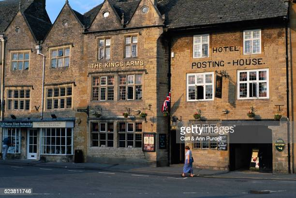 old buildings on street - stow on the wold stock pictures, royalty-free photos & images