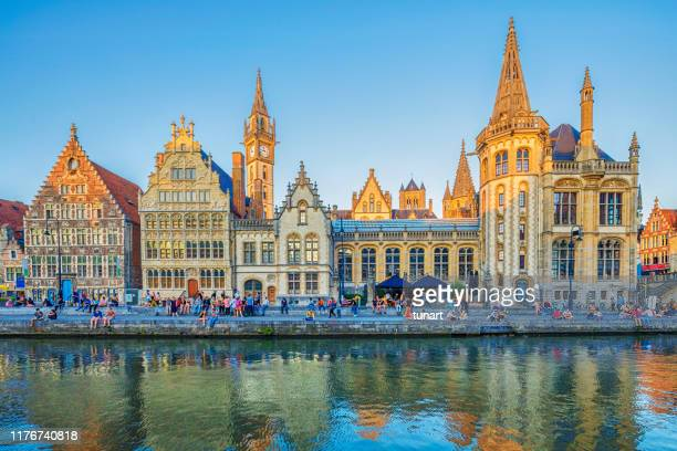 old buildings on the graslei harbour, ghent, belgium - traditionally belgian stock pictures, royalty-free photos & images
