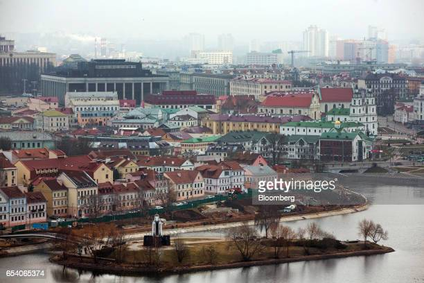 Old buildings stand beside a waterway in the Upper Town historic district of Minsk Belarus on Wednesday March 15 2017 Belarusian President Alexander...