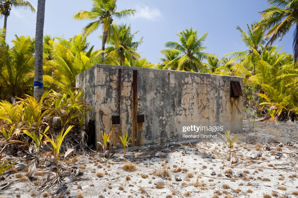 Old bunker built for the observation of nuclear weapons tests, Marshall Islands, Bikini Atoll : Stock Photo