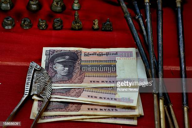 Old Burmese money with the efigy of Aung San father of Nobel prize and Democracy fighter Aung San Suu Kyi This money was abolish by the general Ne Win