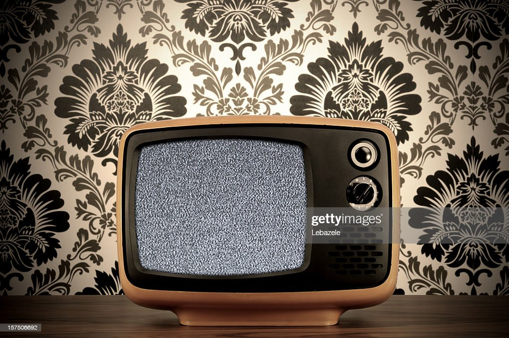 Old BW Tv (clipping path) : Stock Photo